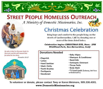 Christmas Eve Homeless Outreach